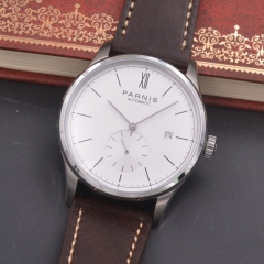 Parnis Date Seagull Automatic Movement Men's Boy Casual Watch Leather Strap