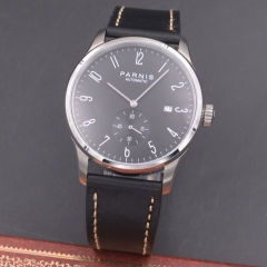 Parnis 42mm watch black dial calendar Seagull Movement PARNIS Automatic mechanical men watch