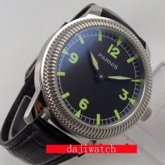 44mm parnis black dial luminous marks ST3600 hand winding 6497 mens watch