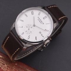Parnis 42mm watch white dial calendar Seagull Movement parnis Automatic mechanical men watch