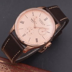 Parnis 42mm Power Reserve watch rose golden dial date parnis Automatic mechanical men watch