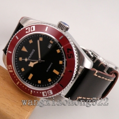 43mm Parnis black dial sapphire glass Ceramic bezel Automatic mens Watch