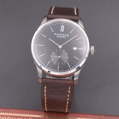 Parnis 42mm watch black dial calendar Seagull Movement Automatic mechanical men watch