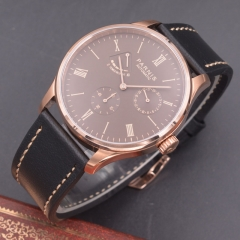 Parnis 42mm Rose gold case coffee dial Seagull Movement Automatic mechanical men watch Power Reserve