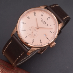 Parnis 42mm watch Rose gold case calendar Automatic mechanical men watch Seagull Movement