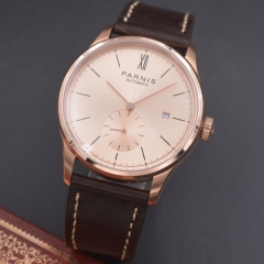 Parnis 42mm Rose gold case calendar Automatic mechanical men watch Seagull Movement