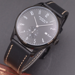 Parnis 42mm watch PVD case black dial calendar Seagull Movement Automatic mechanical men watch