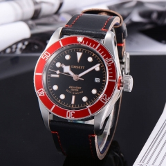 41mm Corgeut/ Sterile dial/ Red Aluminum Bezel Miyota Sapphire Glass Automatic Watch