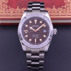 40MM MENS Parnis AUTOAMATIC mechanical Deployment Sapphire Glass WATCH