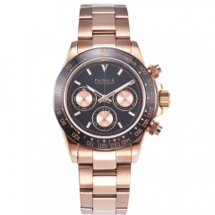 39mm PARNIS Sapphire Crystal Rose gold Case full Chronograph quartz mens watch
