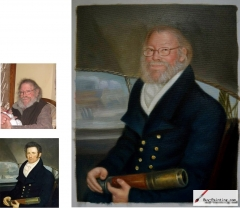 Custom oil portrait from photos-One older men