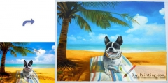 Custom Pet Portrait-Dog on the beach