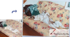 Custom Pet Portrait-The dog lay on the sofa