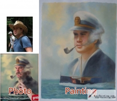 Custom oil portrait-Smoking old sailor