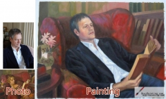 Custom oil portrait-A man reading a book