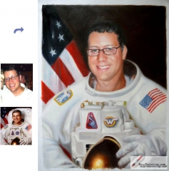 Custom oil portrait-Happy astronauts
