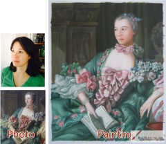 Custom oil portrait-The lady dressed in gorgeous clothes