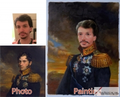 Custom oil portrait-A bearded general