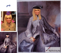 Custom oil portrait-The lady was dressed in purple clothes