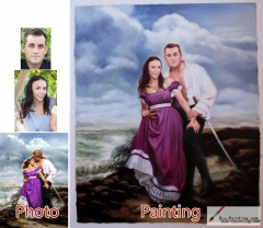 Custom oil portrait-Lovers in the seaside