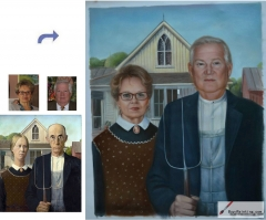 Custom oil portrait-Gothic husband and wife
