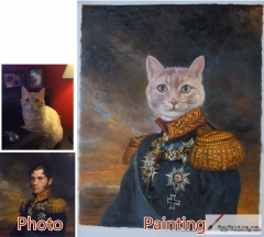 Custom oil portrait-Cat general