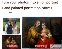 Custom oil portrait-Men and his pregnant wife