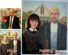 Custom oil portrait-American Gothic