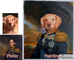 Custom oil portrait-Yellow dog generals