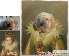 Custom oil portrait-Lovely dog lady