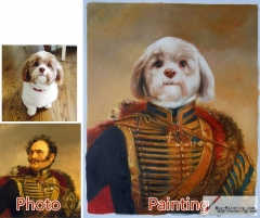 Custom oil portrait-Confident dog generals