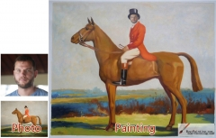 Custom oil portrait-A gentleman riding a horse