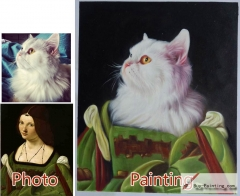 Custom oil portrait-A cat with green clothes