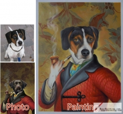 Custom oil portrait-The dog smoking
