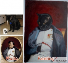 Custom oil portrait-A black cat