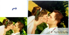 Custom Oil Portrait-The bride and groom kiss