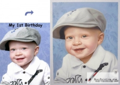 Custom Child Portrait-A boy in a hat