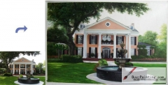 Custom House Portrait-Villa with a fountain