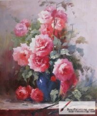 Rose in a blue vase