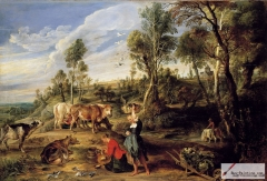 Landscape with Milkmaids and Cattle, 1618