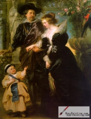 Rubens with Hélène Fourment and their son Peter Paul, 1639