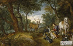 Miracle of Saint Hubert, painted together with Jan Bruegel, 1617