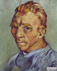 Self-portrait without beard, late September 1889, private collection. Possibly Van Gogh's last self portrait, and a birthday gift to his mother