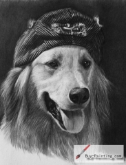 Custom Pencil Drawing-A dog in a hat