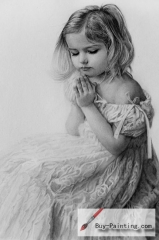 Custom Drawing-Little girl in prayer