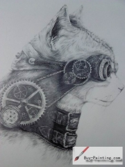 Custom Drawing-A cat with a telescope