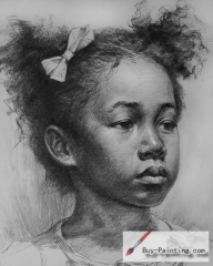 Custom Drawing-Black little girl