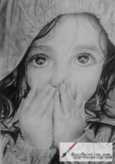 Custom Drawing-Shy little girl