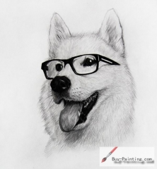 Custom Drawing-A dog with glasses