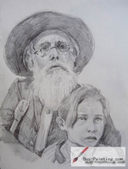 Custom Drawing-Grandpa and grandson